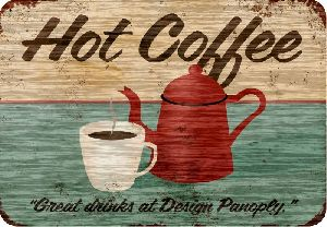 Placa Adesivada HOT COFFE 28x40