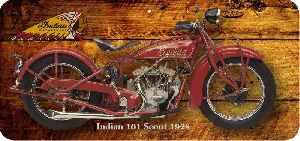 Placa adesivada Moto Indian 101 Scout 1928 - 14x30